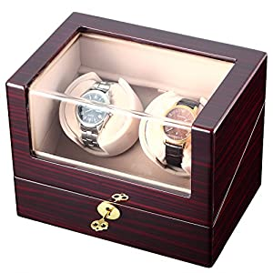 CHIYODA Automatic Double Watch Winder with Two Quiet Mabuchi Motors (Brown)