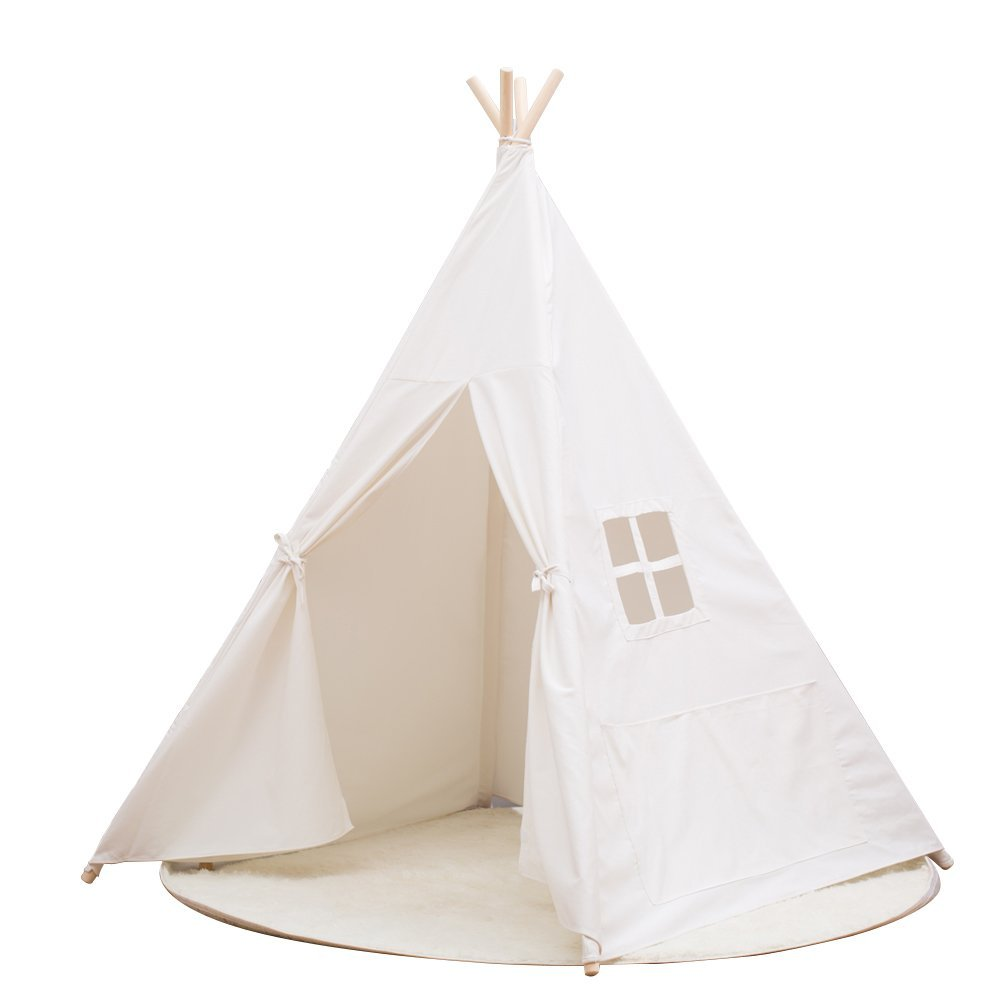 newest collection dc2ce e4f39 Small Boy Portable Kids Cotton Canvas Teepee Indina Play Tent Playhouse,  Class White One Window Style