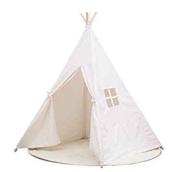 Small Boy Portable Kids Cotton Canvas Teepee Indina Play Tent Playhouse Class White One Window  sc 1 st  Amazon.com & Amazon.com: Small Boy Portable Kids Cotton Canvas Teepee Indina ...