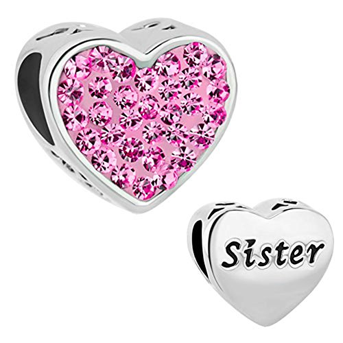 Third Time Charm Sister Charm Pink Heart Beads For Charms Bracelet
