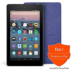 All-New Fire 7 Protection Bundle with Fire 7 Tablet (8 GB, Black), Amazon Cover (Cobalt Purple) and Protection Plan (1-Year)