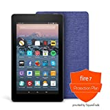 Fire 7 Protection Bundle with Fire 7 Tablet (8 GB, Black), Amazon Cover (Cobalt Purple) and Protection Plan (2-Year)