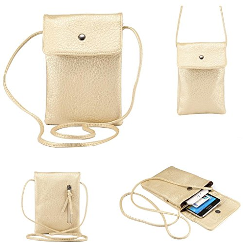 WaitingU Universal Crossbody Cell Phone Bag PU Leather Carrying Cases Credit Card Holder Shoulder Pouch Bag for iPhone 6/6S Plus 6/6S Samsung Galaxy Note Series Phones Under 6.2 inchs -Champagne -
