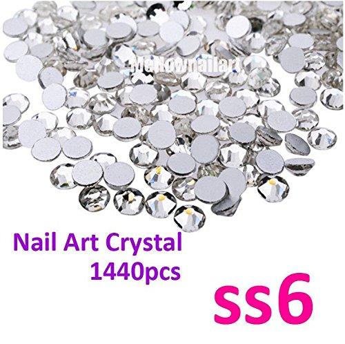 1440p SS6 2mm nail Art Decoration DIY Crystal Silver Clear Rhinestone Foiled