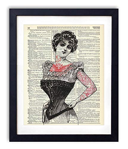 (Victorian Tattooed Woman Illustration Vintage Upcycled Dictionary Art Print - 8x10 inches )