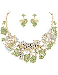 Austrian Crystal Party Forest Leopard Elephant Necklace Earrings Set Clear Gold-Tone