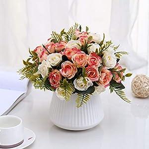Aurdo Artificial Flowers,Fake SilkVintageRoseFlowersBouquet for Room,Kitchen,Garden,Wedding, PartyDecor (2 Pack) (Beige) 4