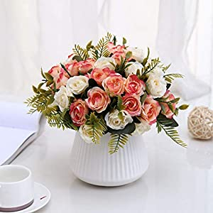 Aurdo Artificial Flowers, Fake Silk Vintage Rose Flowers Bouquet for Room, Kitchen, Garden, Wedding, Party Decor (2 Pack) … 4