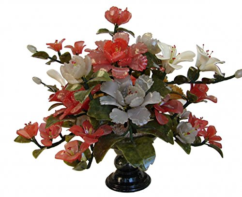 Feng Shui Jade Peony Bouquet with Vase
