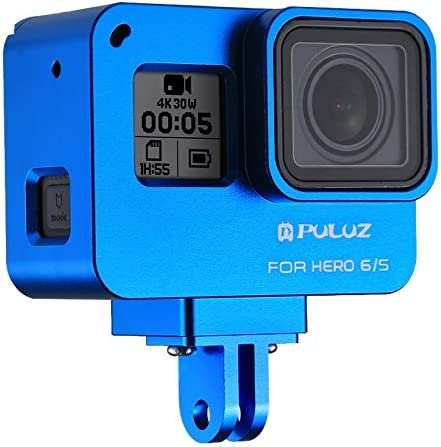 //7 Black //6//5 Color : Blue Black Metal Case Housing Shell CNC Aluminum Alloy Protective Cage with Insurance Frame Case for GoPro Hero 2018