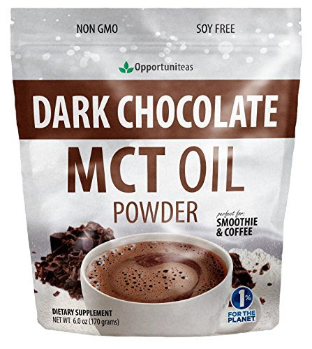 (Dark Chocolate MCT Oil Powder - Sugar Free Hot Chocolate Mix - Perfect Low Carb Keto, Ketogenic Cocoa Supplement for Energy & Mood Support - Mix in Coffee, Tea, Drinks, Smoothies, Recipes - 6 oz)