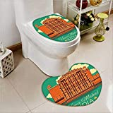 Toilet Heart shaped foot pad Poster of Famous Monument Hawa Mahal in India Orange and Jade Green Washable Non-Slip