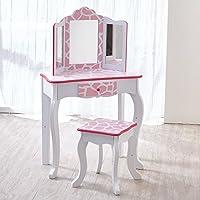 Teamson Kids TD-11670F Fashion Prints Wooden Vanity Table and Stool Set