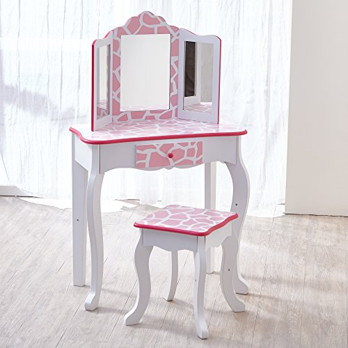 Fashion Prints Vanity Set with Mirror, Light Pink Giraffe Pr