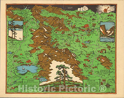 Historic Map | Rocky Mountain National Park, Grand Lake, Estes Park 1938 | Vintage Wall Art | 24in x 18in