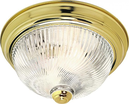Nuvo Lighting SF76/024 Two Light Flush Mount, Polished Brass/Clear Swirl Glass