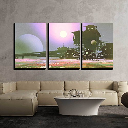 Factory and Industry in Flower Fields Sci Fi Scene Illustration Painting x3 Panels