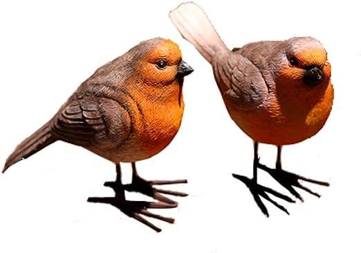 Adornos de pájaros de resina realista, 2 unidades, adorno de petirrojo decorativo de escritorio, figuras de pájaros de jardín, adornos, juguetes pequeños animales y miniaturas: Amazon.es: Hogar