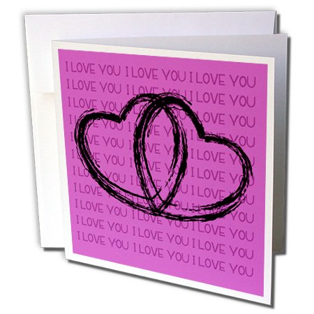 3dRose Black Sketched Hearts On A Pink Background That Says I Love You - Greeting Cards, 6 x 6 inches, set of 6 (gc_101211_1)