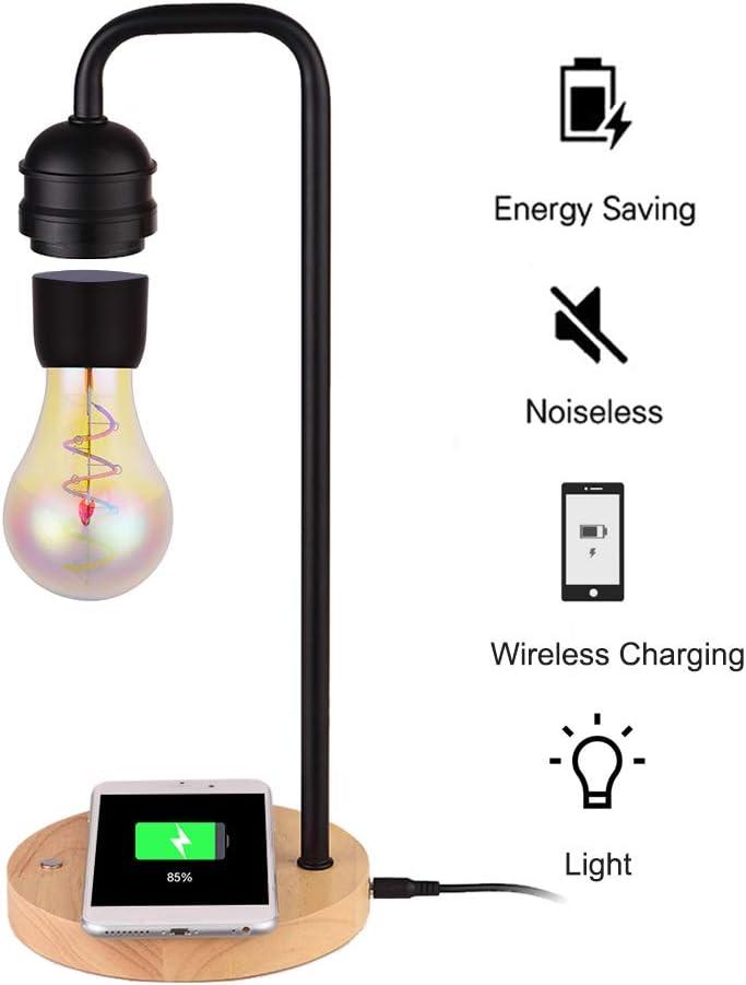Aibecy Mesa LED Lámpara de luz magnética Bombilla Flotante Atmósfera levitante Luz nocturna con cargador inalámbrico para iPhone Android Office Home Dormitorio Decoración de la habitación