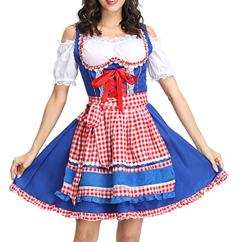 Togethor Oktoberfest Midi Dirndl Dress, Women's German Costumes for Bavarian Oktoberfest Carnival Halloween Blue
