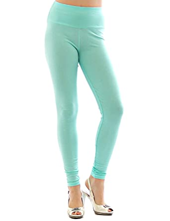 YESET Femme Leggings pantalon long leggings en coton Taille haute  aquamarine S 512630f0b62