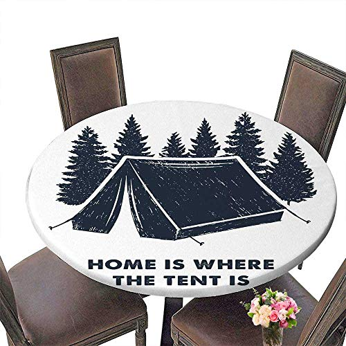 PINAFORE The Round Table Hand Drawn Inspirational Label with Pine Trees and Camping Tent Textured andHome is Where for Birthday Party, Graduation Party 35.5