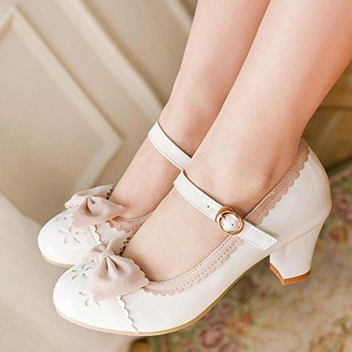 COOLCEPT Mujer Retro Boca Baja Zapatos Lindo Tacon Medio Bombas Zapatos Mary Janes Zapatos con Bowknot Blanco