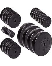C.P. Sports - Juego de discos de pesas (30/31 mm, 57 kg y114 kg, plástico, entrenamiento de fuerza, fitness, culturismo, placas de contorno)