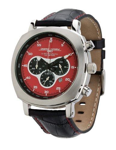 Jorg Gray JG3520 Men's Red Dial Black Leather Strap Quart Watch