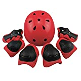 Scooters Equipment Best Deals - Kids Sports Knees Elbows Wrists Head Support Protection Helmet Set for Unisex Children Toddler Extreme Sports Youth Roller Bicycle BMX Bike Skateboard Hoverboard Protector Guards Pads -7 Pcs (Red)