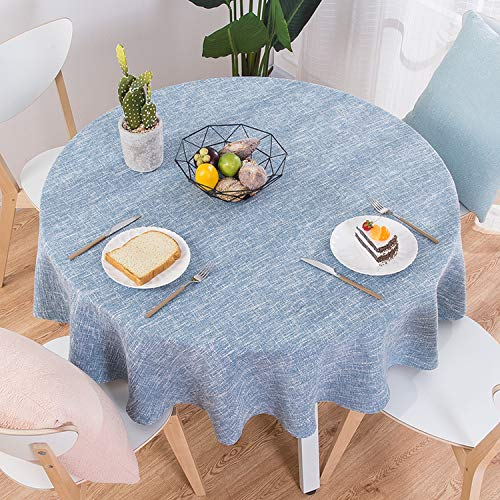 Elibone Table Cloths Round Wedding Party Table Cover Cotton Linen Tablecloth Nordic Tea Coffee Tablecloths Home Kitchen Decor,E,120CM Diameter Round