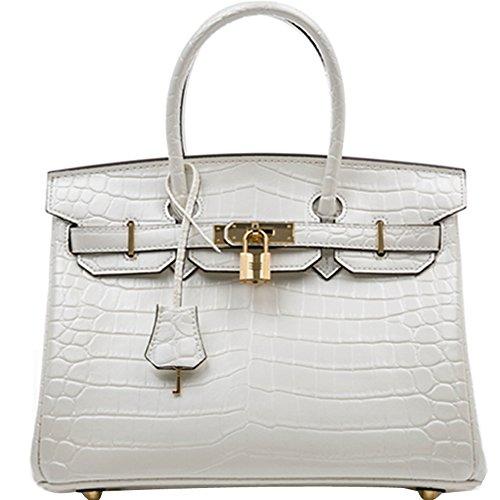 - Ainifeel Women's Patent Leather Crocodile Embossed Top Handle Handbags (35cm, White)