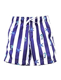Azul Baby Boys Navy White Stripe Aquatic Print All Aboard Swim Trunks 12-24M