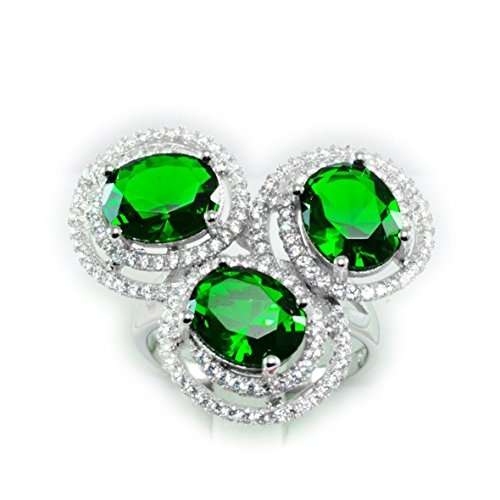 [Total Weight 43.35ct Simulated Green Tsavorite Garnet White Sap 925 Silver Ring 9.5,S] (Tsavorite Green Garnet)