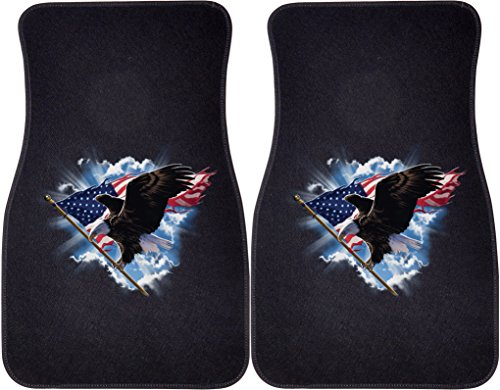 Patriotic Flying Colors - Patriotic Flying Eagle (Black) Car and Truck Front Mats - Set of 2