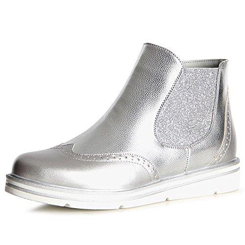 Topschuhe24 Boots Bottines Chelsea Argent Femmes rqTXwr
