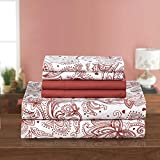 PH 4 Piece Twin Brick Floral Printed Sheet Set, Country & Vintage Style, Microfiber Material, Paisley Pattern Deep Pockets, Fully Elasticized Fitted, Machine Wash - Reddish Brown