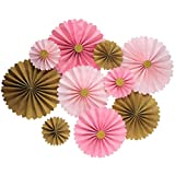 Mybbshower Pink Gold Hanging Paper Flowers Decor Kit for Girls Birthday Party Pack of 10