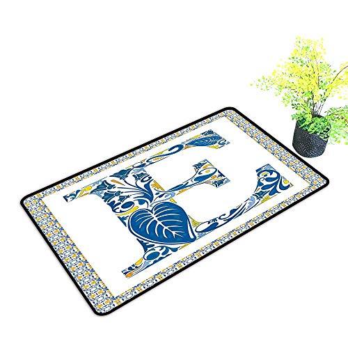 Washable Doormat Letter E Portuguese Tiles and Floral Arrangement Colorful Artistic Design Alphabet W16 xL20 Breathability Blue Yellow Orange