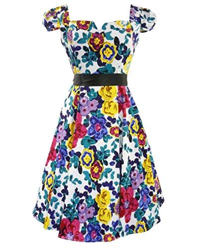 50's Gemischt Blumenmuster Sommer Tag Kleid