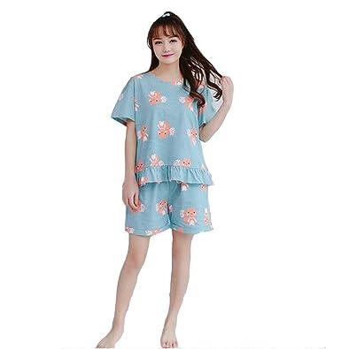 e77284b4b3 ZWT Gils Big Girls Cute Squirrel Shorts Pajamas Set Summer Casual Sleepwear  (Big Girls