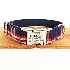 hipidog Personalized Dog Collar, Custom Engraving with Pet Name and Phone Number, Adjustable Tough Nylon ID Collar, Matching Leash Available Separately