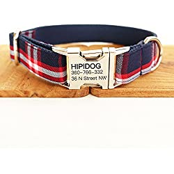 hipidog Personalized Dog Collar, Custom Engraving with Pet Name and Phone Number, Adjustable Tough Nylon ID Collar, Matching Leash Available Separately (Scottish Blue)