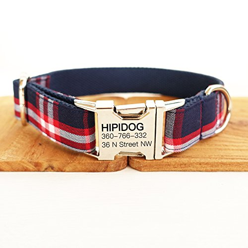 hipidog Personalized Dog Collar, Custom Engraving Pet Name Phone Number, Adjustable Tough Nylon ID Collar, Matching Leash Available Separately