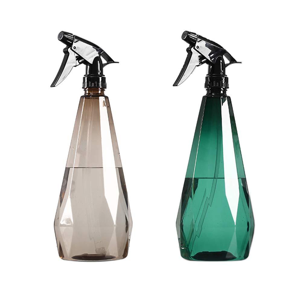 Plastic Spray Bottle, Squirt Bottle (2 pack)–1L/32oz Empty Spray Bottles for Cleaning Solutions, House Garden Plants, Mister Spray Bottle, Refillable Sprayer with Mist Stream Mode(Green & Brown)