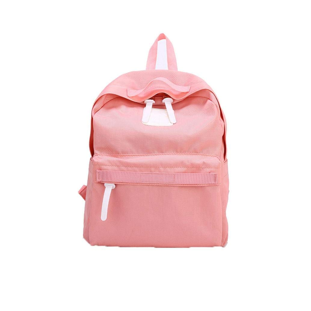 Casual Parent-Child Solid Bag, Vertily Family Hiking School Travel Soft Backpack (Pink, Large)