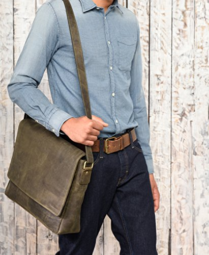 CrazyVinkat in Oxford Olive genuine style LEABAGS vintage bag buffalo messenger leather zRYqFwf