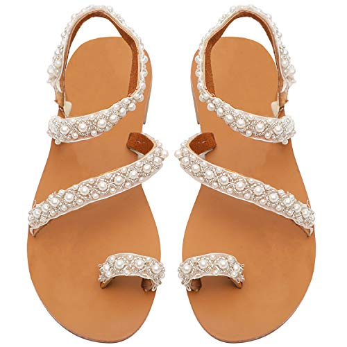 - Joywow Womens Flat Sandals Bohemia Pearls Slippers Ankle Strap Flat Flip Flops Open Toe Summer Beach Shoes (9 M US(Foot Lenght 9.84''), Princess Crystal Sandals)