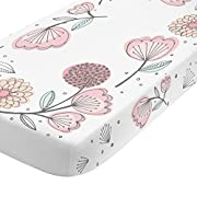 NoJo Photo Op 100% Cotton Fitted Crib Sheet, Floral, Pink/Gray